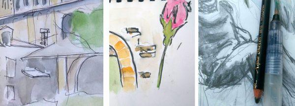 """Trois desssins : à gauche, le trait de crayon est net, au centre, ça bave mais sans que ça n'ait l'air d'être problématique, à droite, le crayon est parfois """"net"""", parfois dilué en peinture."""