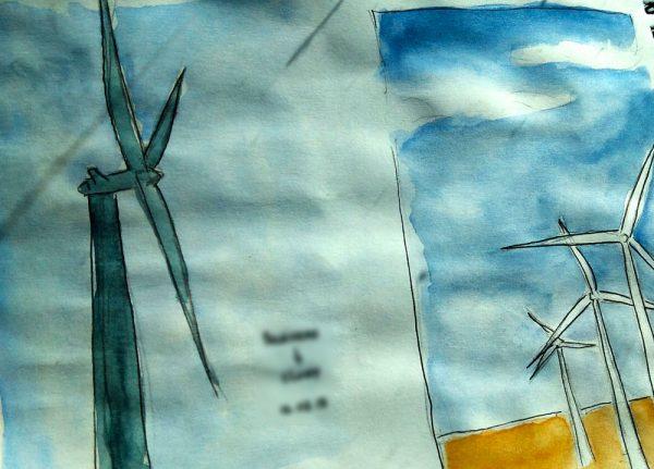 Dessins à l'aquarelle sur du papier qui a légèrement gondolé.