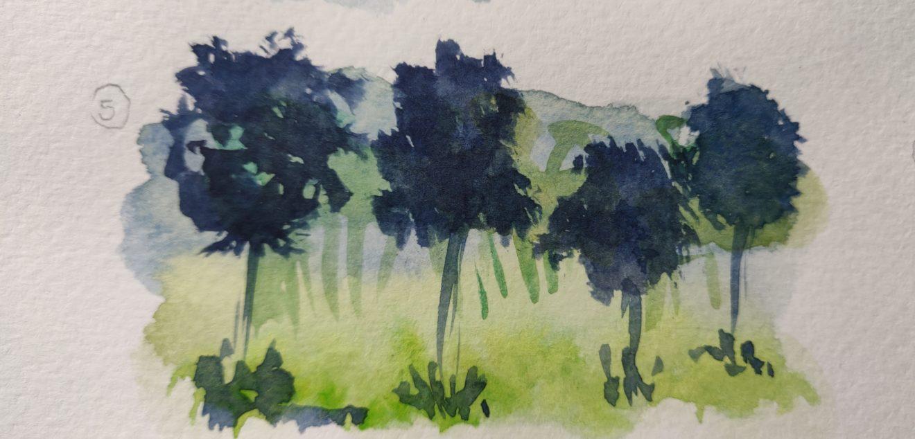 L'exercice des arbres pour apprendre l'aquarelle
