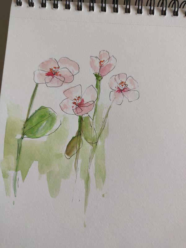 Quatre fleurs dessinées au feutre noir fin, pas follement réussies, et de l'aquarelle rose pour les pétales, verte pour les tiges et feuilles.